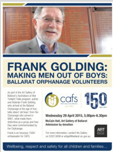 Ballarat Courier 25, 27 April 2015 for talk on 29th April