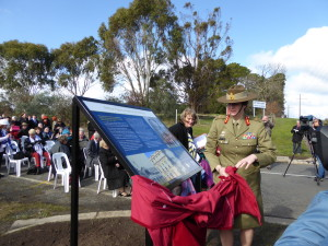 Maj. General Simone Wilkie unveils the commemorative plaque at the entrance to the Avenue