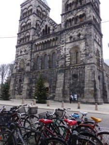 Students' bikes near the Lund Cathedral. It's like dodgem cars when students are late for class