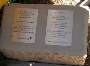 The plaque at the Tasmanian Rose Garden
